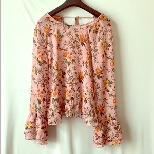 Top Shop Pink Floral Print Long Sleeve Blouse 12